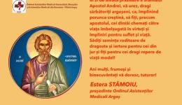 Ordinul Asistenților Medicali Argeș, mesaj de Sfântul Andrei
